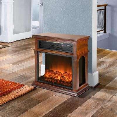 29 in. Freestanding Electric Fireplace Mantel Heater in Wooden Brown with Tempered Glass, Logs and Remote Control