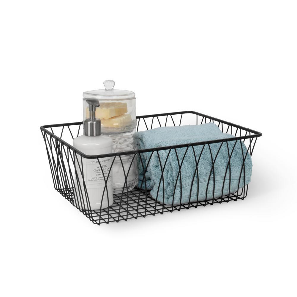 Twist 14.25 in. D x 5 in. W x 11.75 in. H Black Medium Steel Rectangle Wire Storage Bin Basket Organizer