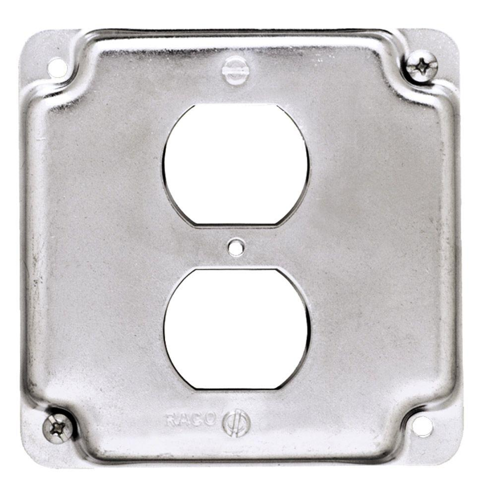 Metal Outlet Covers Raco 4 Insquare Exposed Work Cover For Duplex Receptacle 10