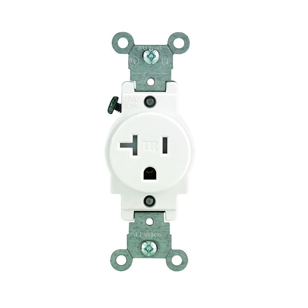 20 Amp Outlet >> Leviton 20 Amp Commercial Grade Tamper Resistant Single Outlet