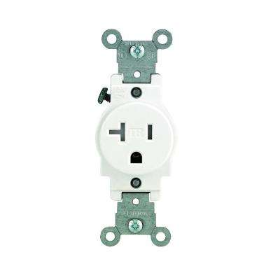 20 Amp Commercial Grade Tamper Resistant Single Outlet, White