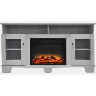 Savona 59 in. Electric Fireplace in White with Entertainment Stand and Enhanced Log Display