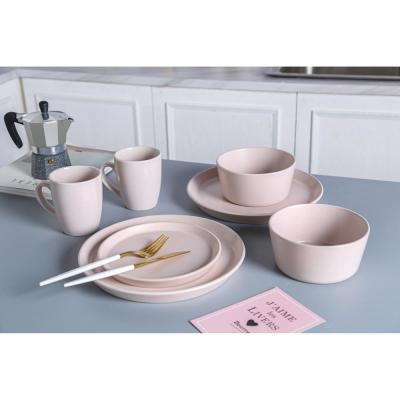16-Piece Casual Pink Stoneware Dinnerware Set (Set for 4)