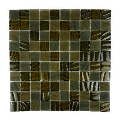 New Era Grizzly Bear Brown Mosaic 1 in. x 1 in. Glossy Glass Mesh Mounted Wall Pool and Floor Tile (1.09 Sq. ft.)