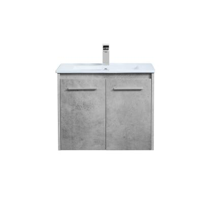Timeless Home 24 in. W x 18.31 in. D x 19.69 in. H Single Bathroom Vanity in Concrete Grey with Porcelain