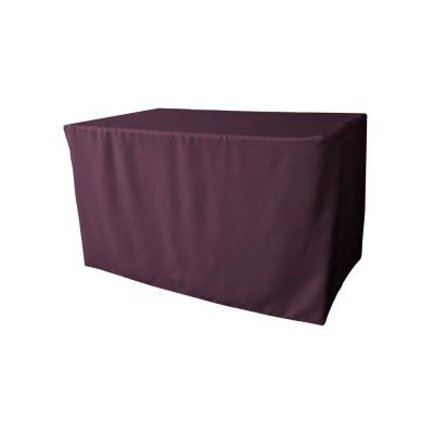 48 in. L x 24 in. W x 30 in. H Eggplant Polyester Poplin Fitted Tablecloth