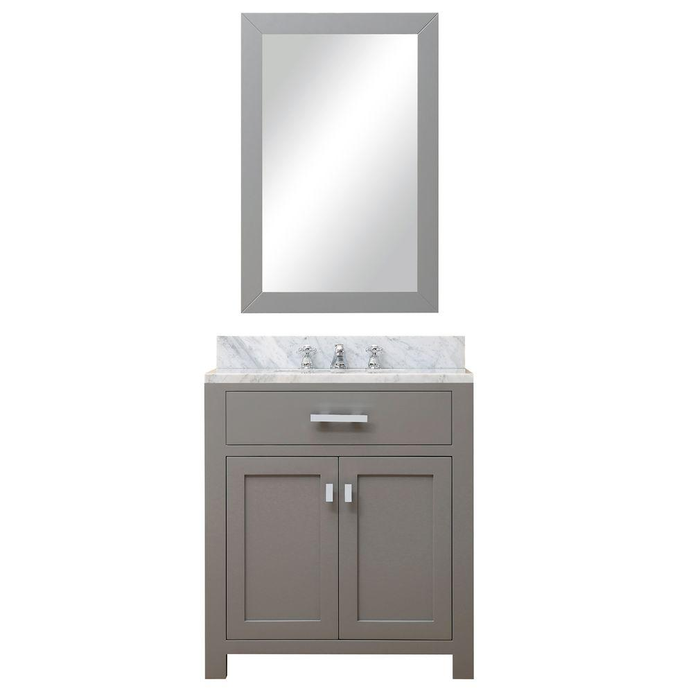 Pleasant Water Creation 30 In W X 21 In D Vanity In Cashmere Grey With Marble Vanity Top In Carrara White Mirror And Chrome Faucet Download Free Architecture Designs Intelgarnamadebymaigaardcom