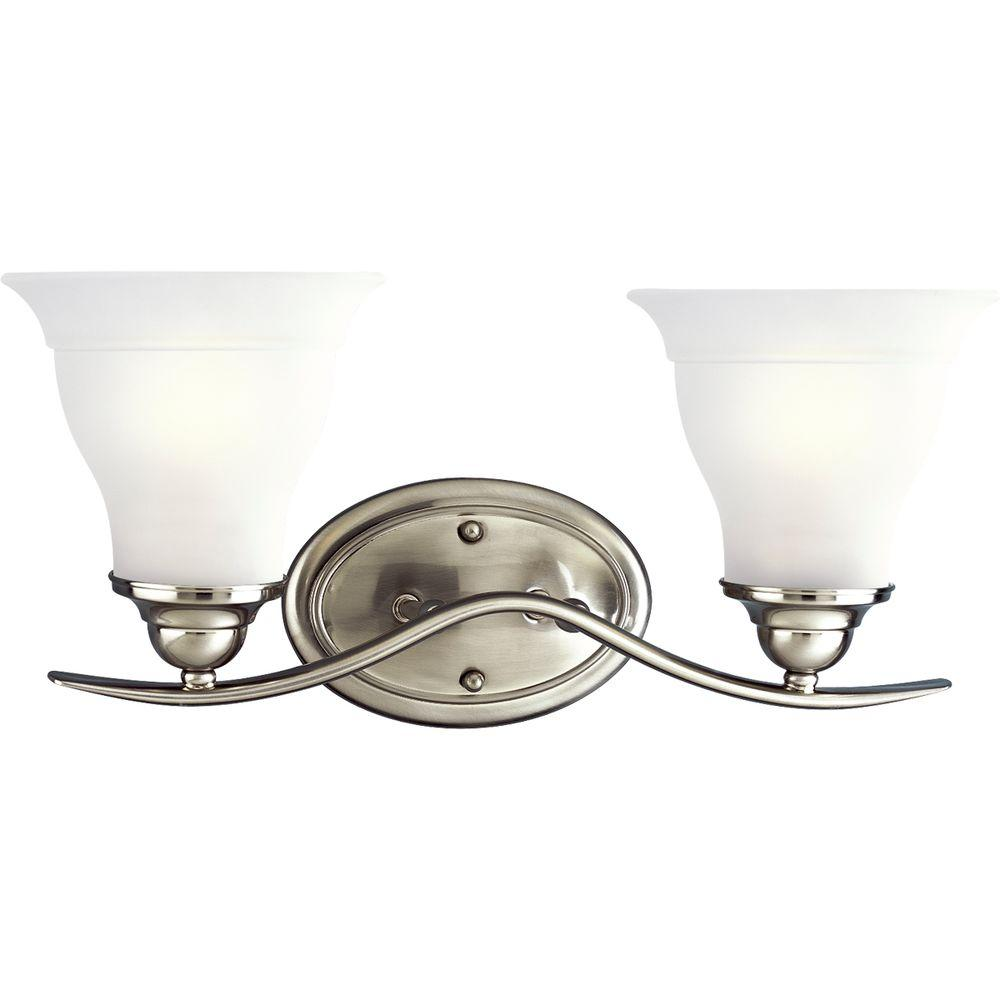 Progress Lighting Trinity 17.5 in. 2-Light Brushed Nickel Vanity ...