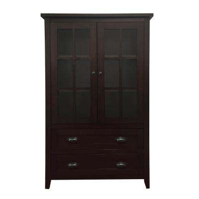 Brookdale Dark Walnut Accent Cabinet with Glass Window-Panel Doors and 2-Drawers