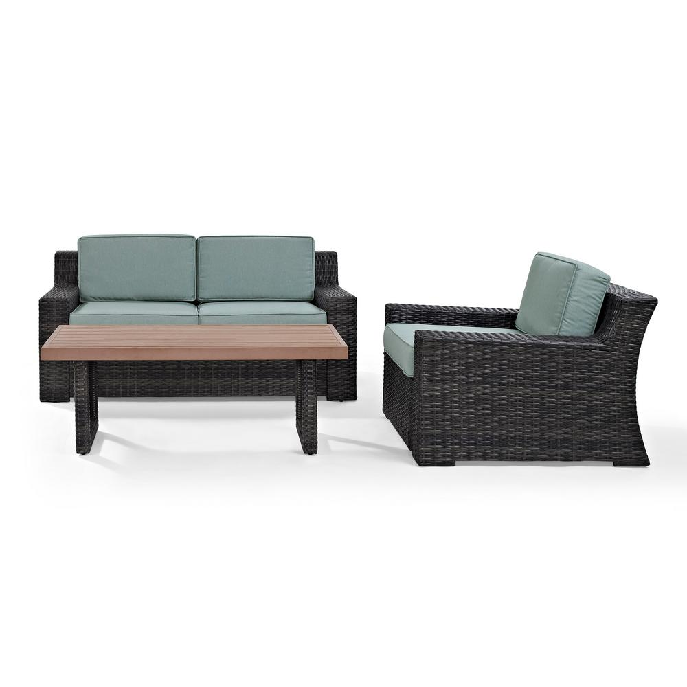 Beaufort 3 piece wicker patio outdoor seating set with mist cushion loveseat chair coffee table
