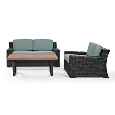 Beaufort 3-Piece Wicker Patio Outdoor Seating Set with Mist Cushion - Loveseat, Chair, Coffee Table