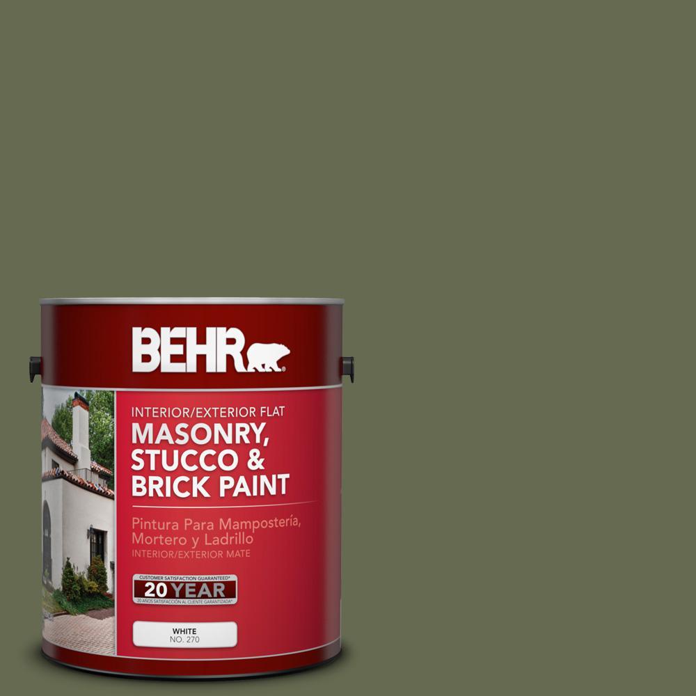 1 gal. #SC-138 Sagebrush Green Flat Interior/Exterior Masonry, Stucco and Brick Paint