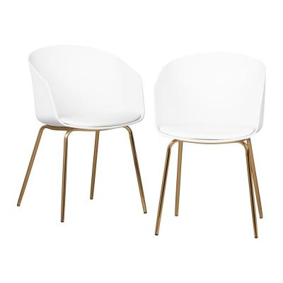 Flam White and Gold Chair (Set of 2)