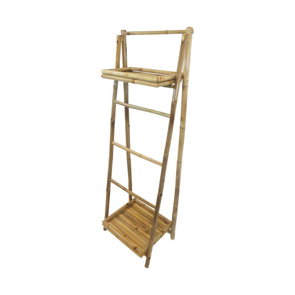 MGP 5 ft. Bamboo Ladder Shelf Self-Standing