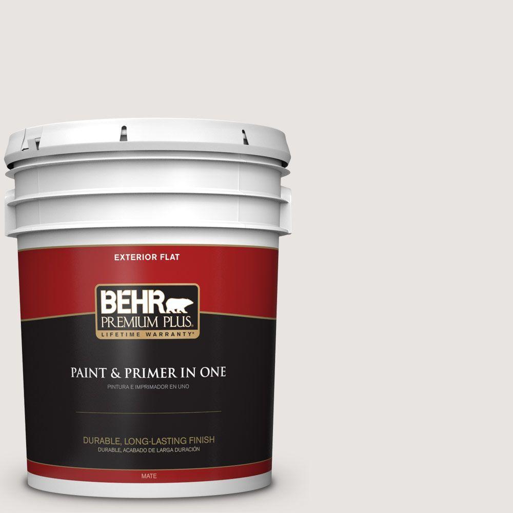 BEHR Premium Plus 5-gal. #PR-W8 Ambience White Flat Exterior Paint