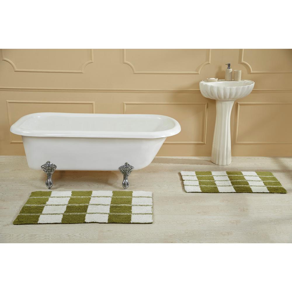 Dream Escape Green White 24 in  x 40 in  Bath Rug