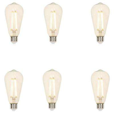 60-Watt Equivalent Clear ST20 Dimmable Filament LED Light Bulb, Soft White (6-Pack)