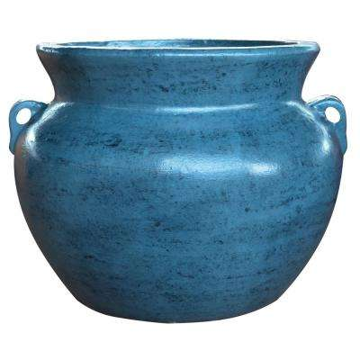 21 in. Cabo Blue Smooth Handle Clay Pot