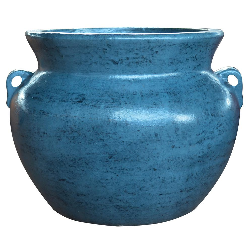Ravenna Pottery 21 in. Cabo Blue Soft Handle Clay Pot