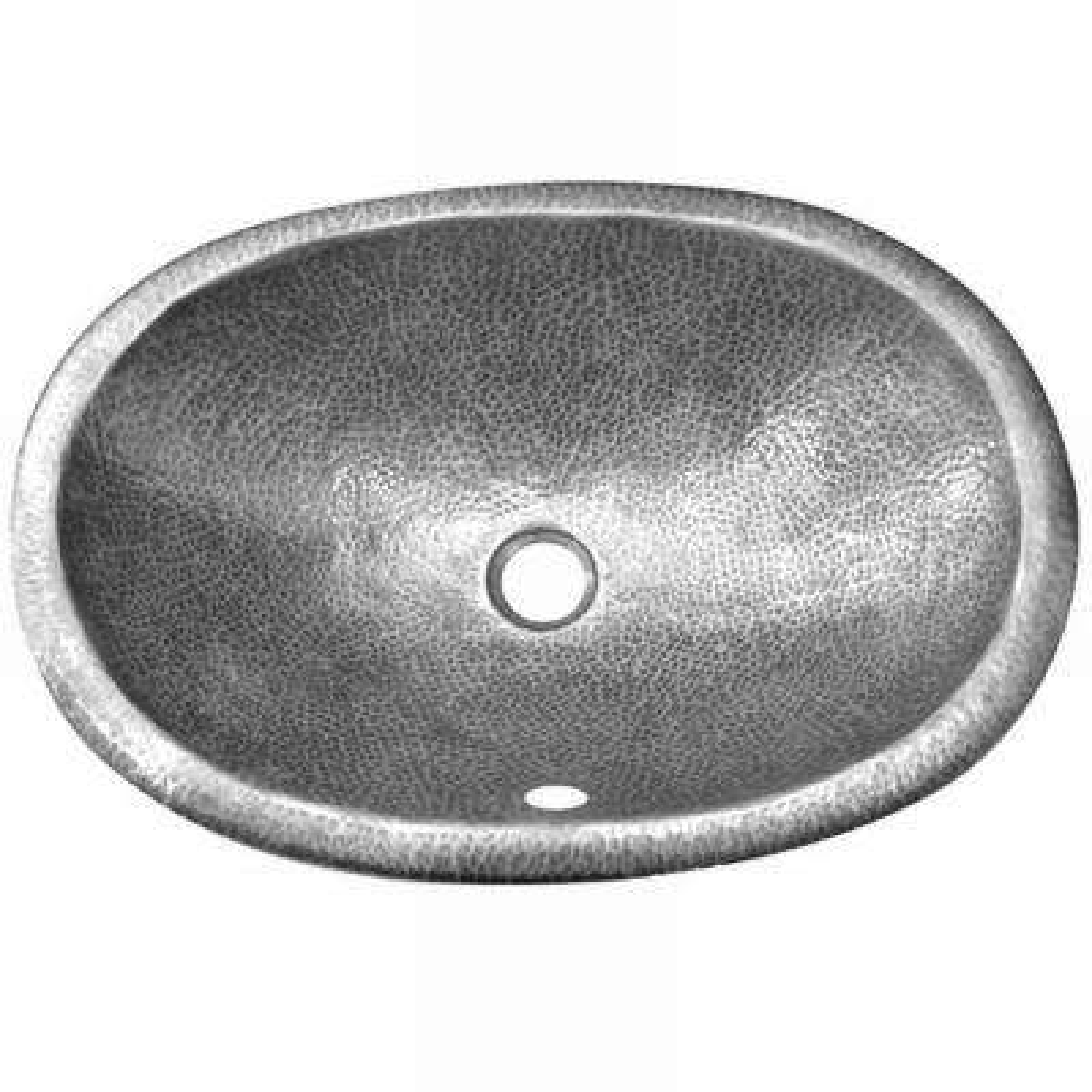 Hammerwerks Ellipse Undermount Copper 21 in. 0-Hole Single Bowl Lavatory/Kitchen Sink in Lustrous Pewter