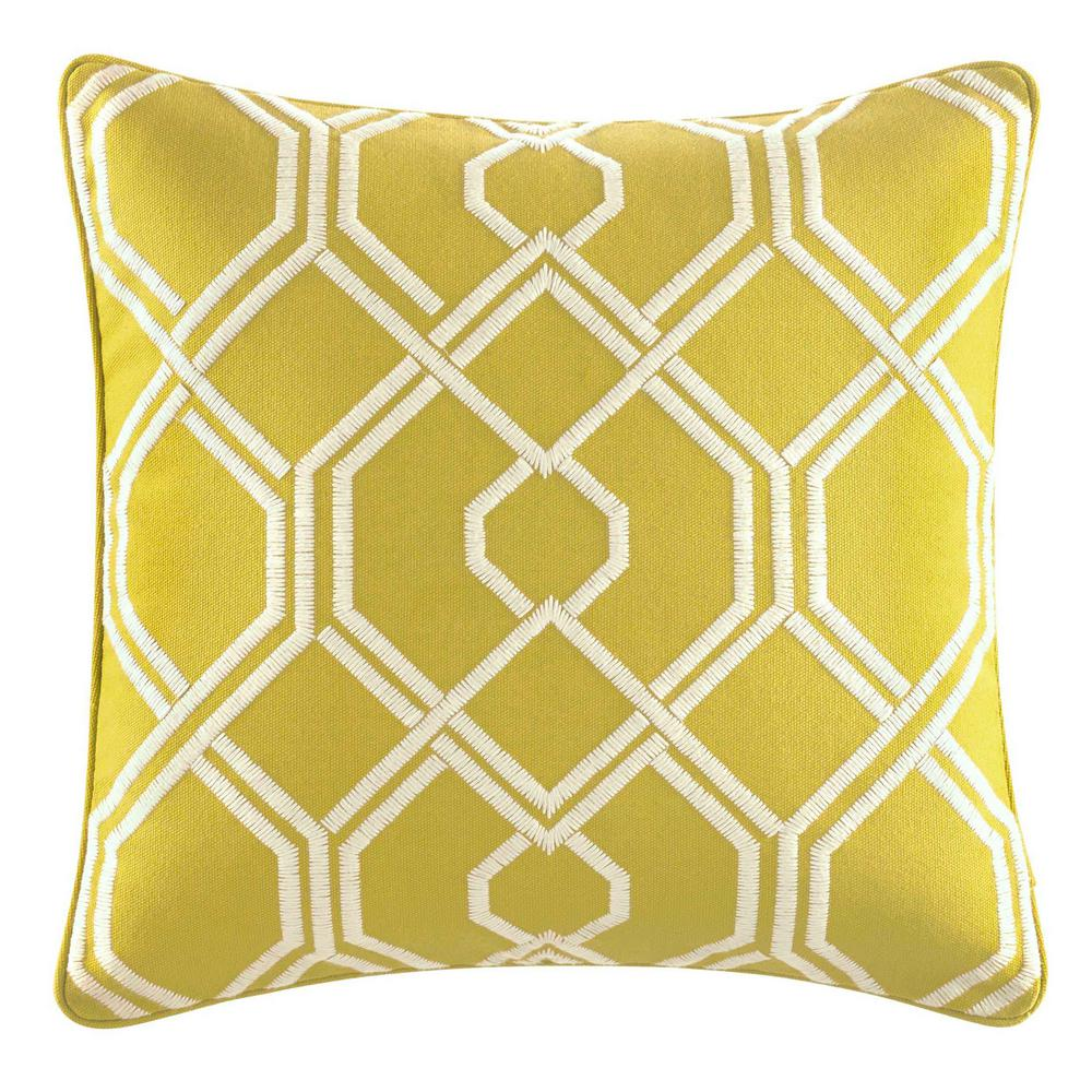 Cuba Cabana Green Cotton 16 in. x 16 in. Decorative Pillow