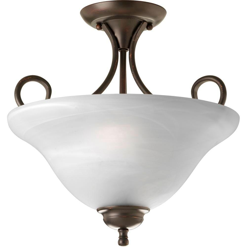 2-Light Antique Bronze Semi-Flush Mount Light