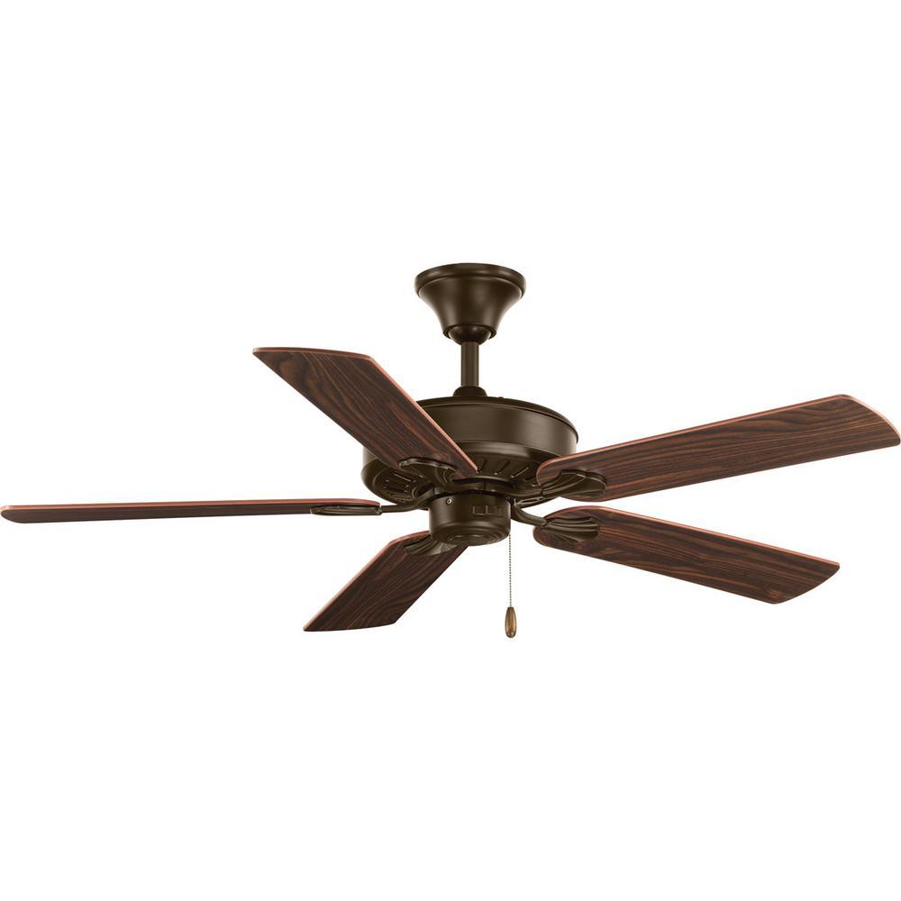 Progress Lighting AirPro Collection 52 in. Indoor Antique Bronze Industrial Ceiling Fan