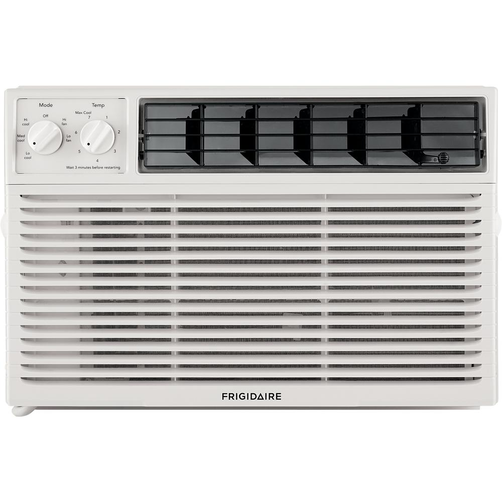 Frigidaire 8,000 BTU Window-Mounted Room Air Conditioner in White This Window Mounted Air Conditioner by Frigidaire offers 8000 BTU of cooling capacity. The unit features 3-fan speeds, a fixed chassis, air swing and auto restart. Our air conditioners maintain the preset room temperature, so you will remain comfortable at all times.