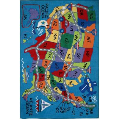 Fun Time Travel Fun Multi Colored 8 ft. x 11 ft. Area Rug
