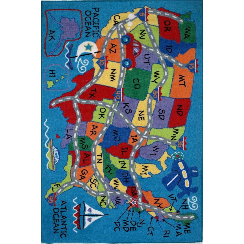 LA Rug Fun Time Travel Fun Multi Colored 39 in. x 58 in. Area Rug