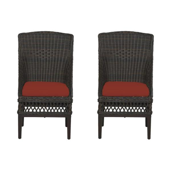 Woodbury Dark Brown Wicker Outdoor Patio Dining Chair with Sunbrella Henna Red Cushions (2-Pack)