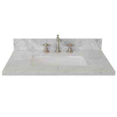 Ragusa II 31 in. W x 22 in. D Marble Single Basin Vanity Top in White with White Rectangle Basin