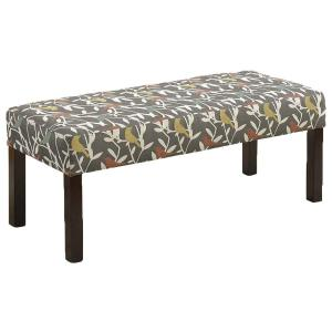 Alma Contemporary Fabric Upholstered Pattern Decorative Accent Bench, Multi-Color by