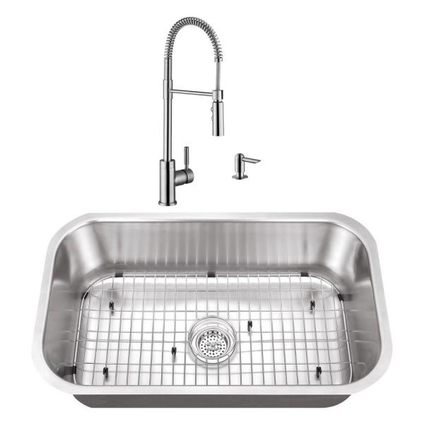Undermount Stainless Steel 30 in. Large Single Bowl Kitchen Sink with Brushed Nickel Faucet