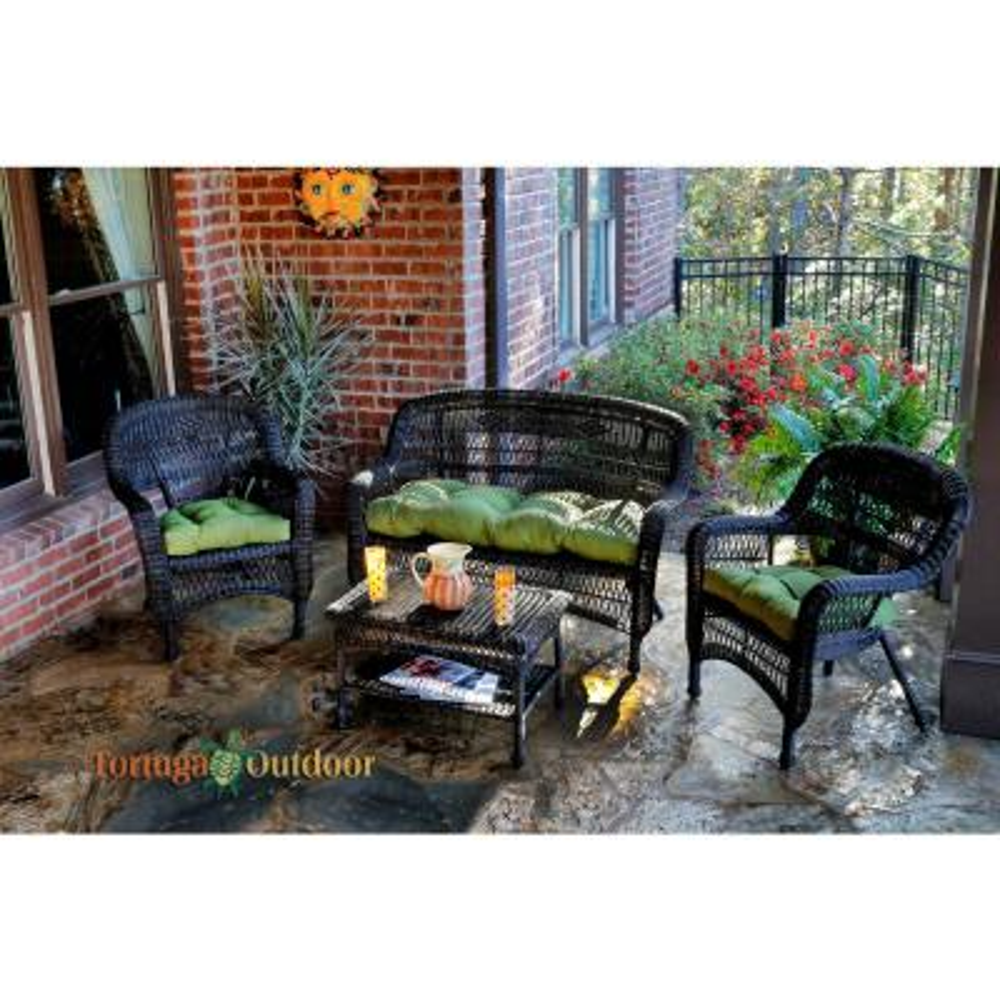Portside Dark Roast 4-Piece Wicker Patio Seating Set with Husk Hunter Cushions