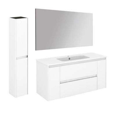 47.5 in. W x 18.1 in. D x 22.3 in. H Bathroom Vanity Unit in Gloss White with Mirror and Column