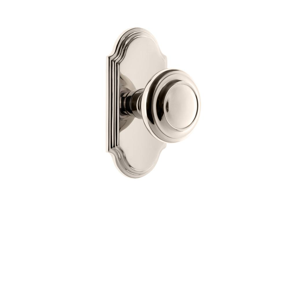 Arc Plate 2-3/4 in. Backset Polished Nickel Passage Hall/Closet with Circulaire