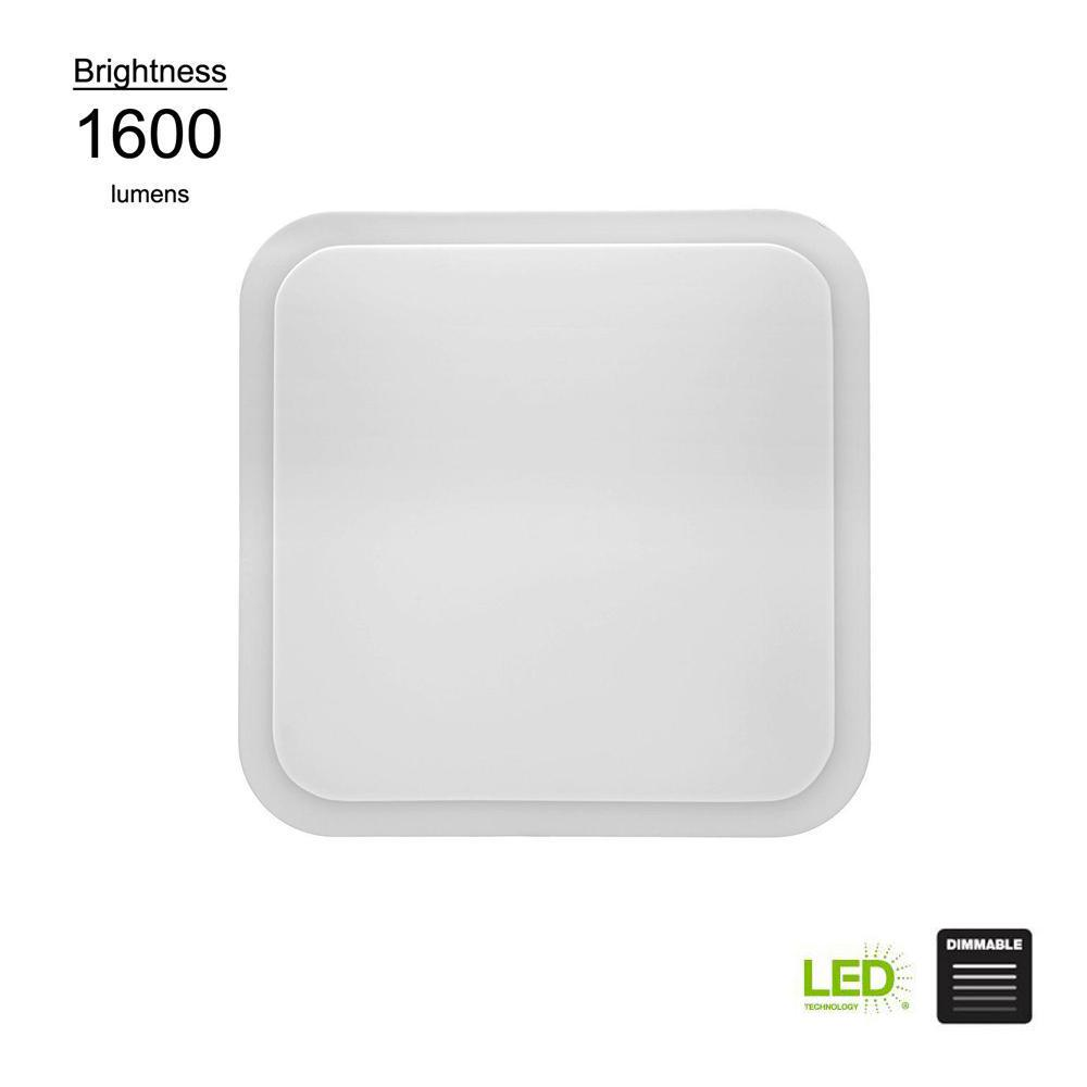 Hampton Bay Transitional Style 16 in. Square White 100 Watt Equivalent Integrated LED Flushmount (Bright/Cool White, Dimmable)