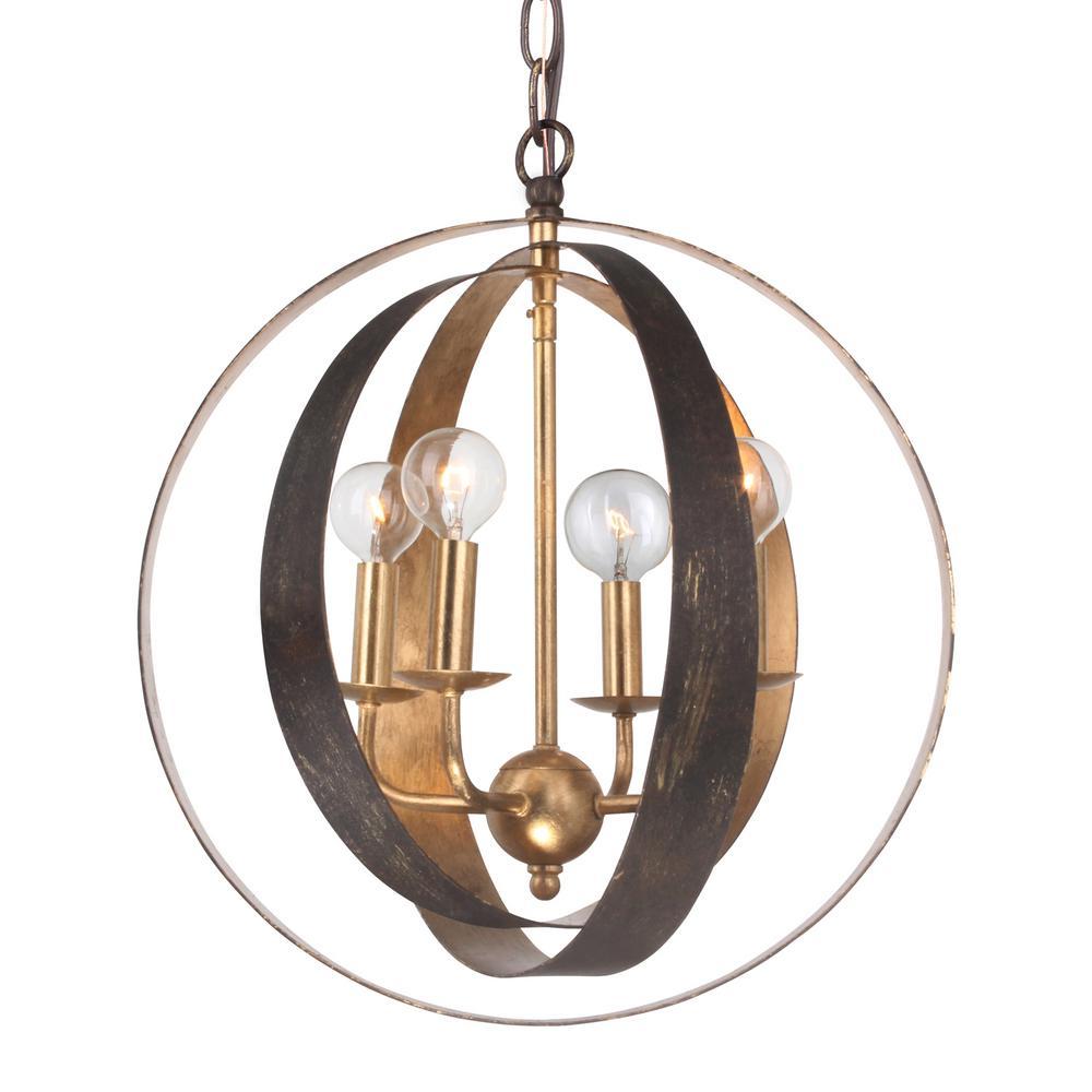 Luna 4-Light Bronze and Gold Sphere Mini Chandelier
