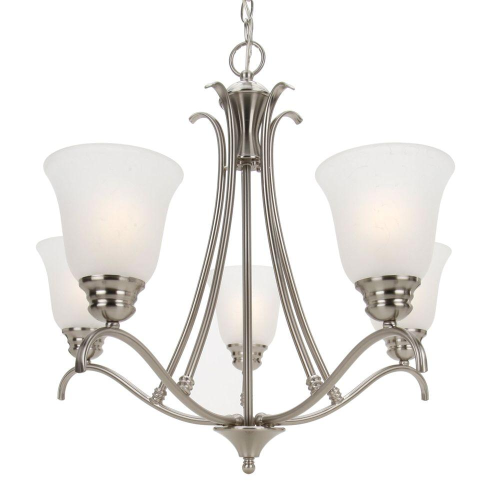 Illumine 5-Light Chandelier Ice Glass Satin Nickel Finsh-DISCONTINUED