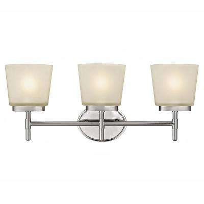 3-Light Polished Chrome Vanity Light with Frosted Oval Glass Shades