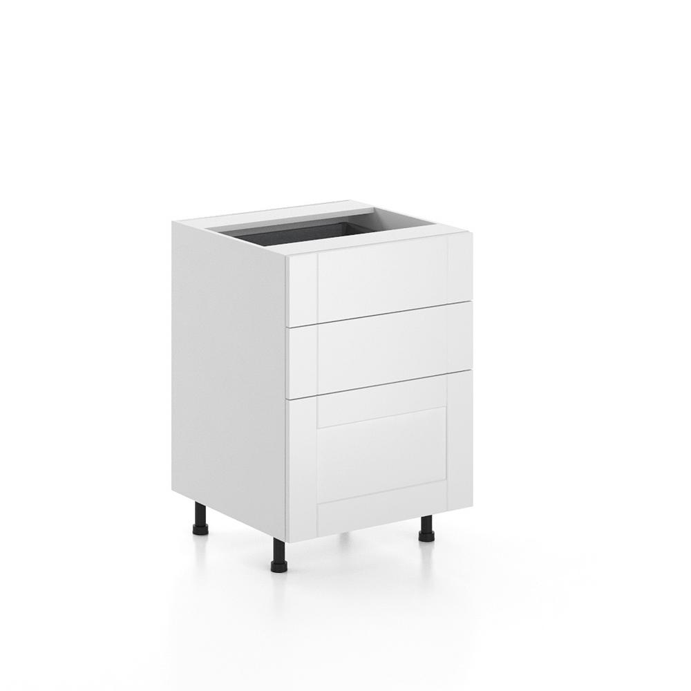 Dublin Ready to Assemble 24x34.5x24.5 in. Oxford 3-Drawers Base Thermofoil