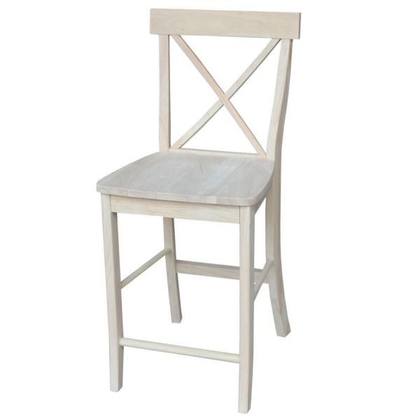 International Concepts 24 in. Unfinished Wood Bar Stool S-6132