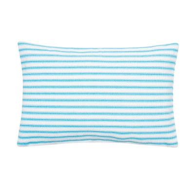 Turquoise Ticking Stripe Turquoise 14 in. x 22 in. Standard Throw Pillow