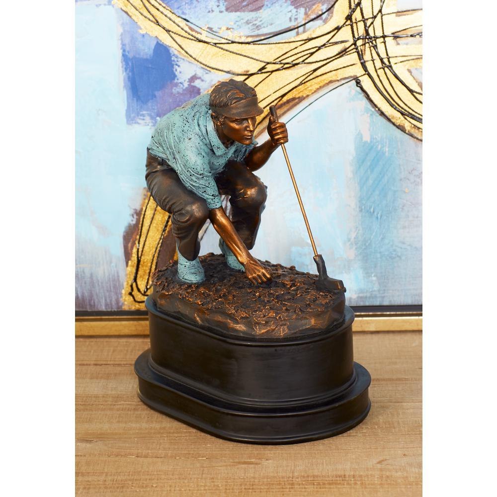 Litton Lane Golfer Polystone Sculpture, Brown