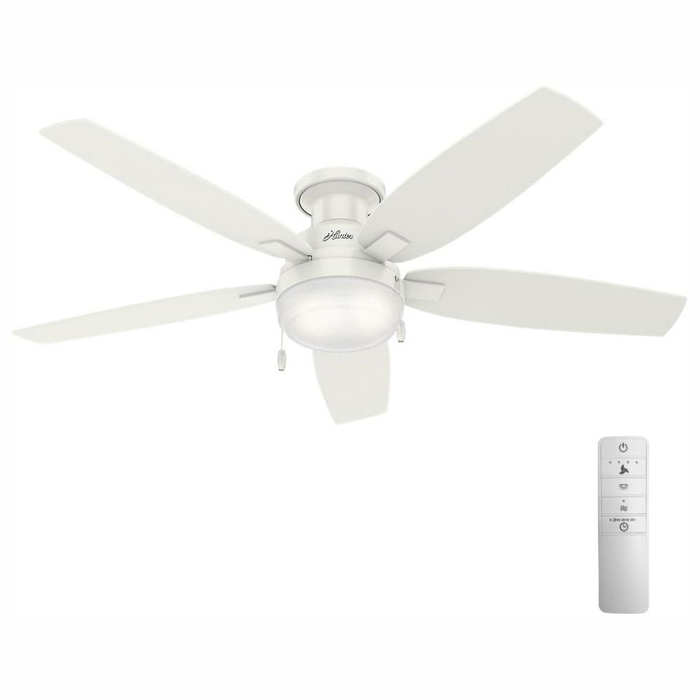 Hunter Fan Company Duncan 52 In Led Indoor Fresh White Flush Mount Smart Ceiling Fan With Light And Wink Remote Control 59186w The Home Depot
