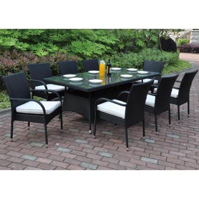 Nave 9-Piece All-Weather Wicker Rectangular Outdoor Dining Set with White Cushion