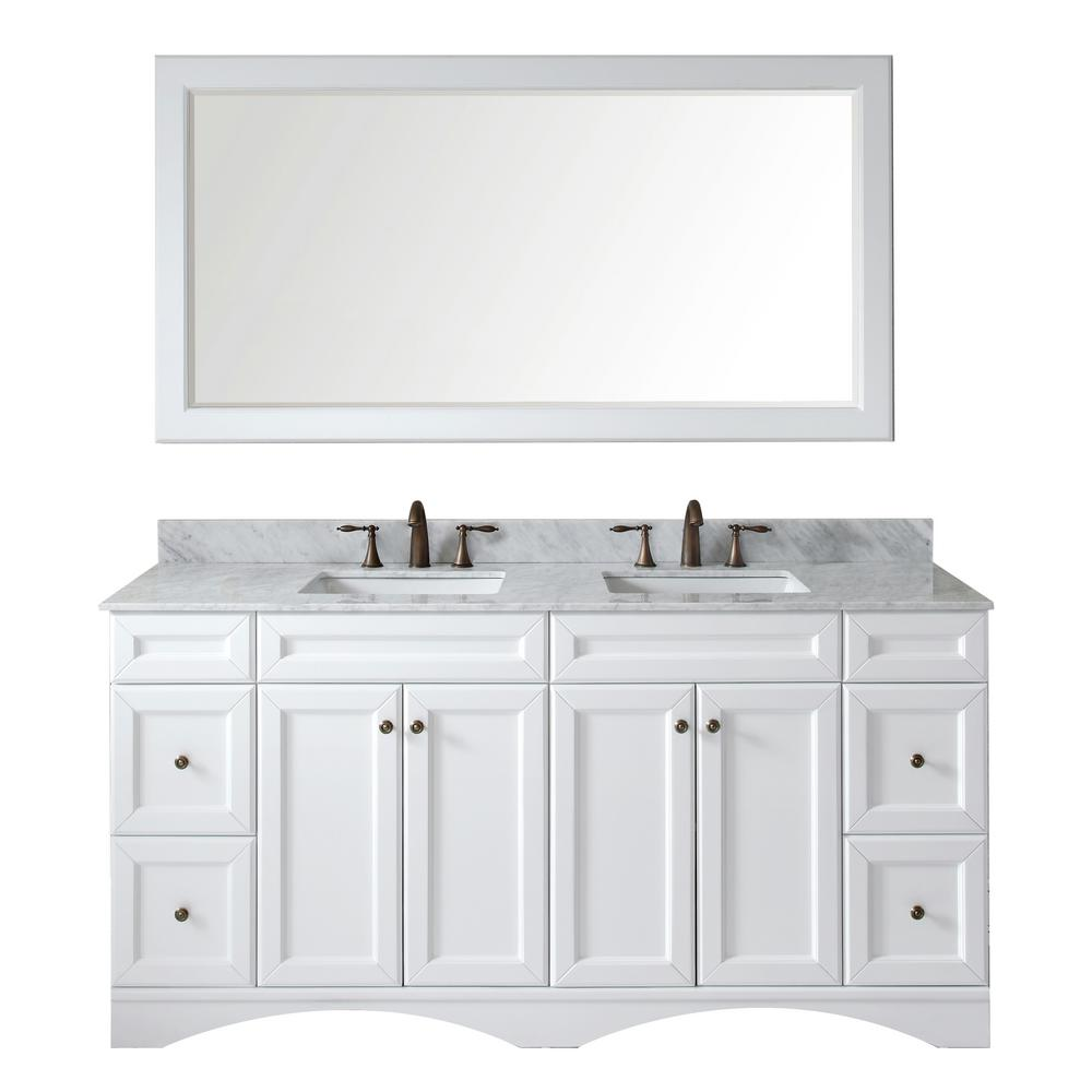 Virtu USA Talisa 72 in. W x 22 in. D x 35.24 in. H White Vanity With Marble Vanity Top With White Square Basin and Mirror