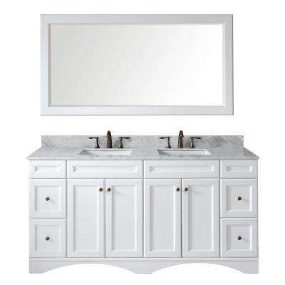 Talisa 72 in. W x 22 in. D x 35.24 in. H White Vanity With Marble Vanity Top With White Square Basin and Mirror