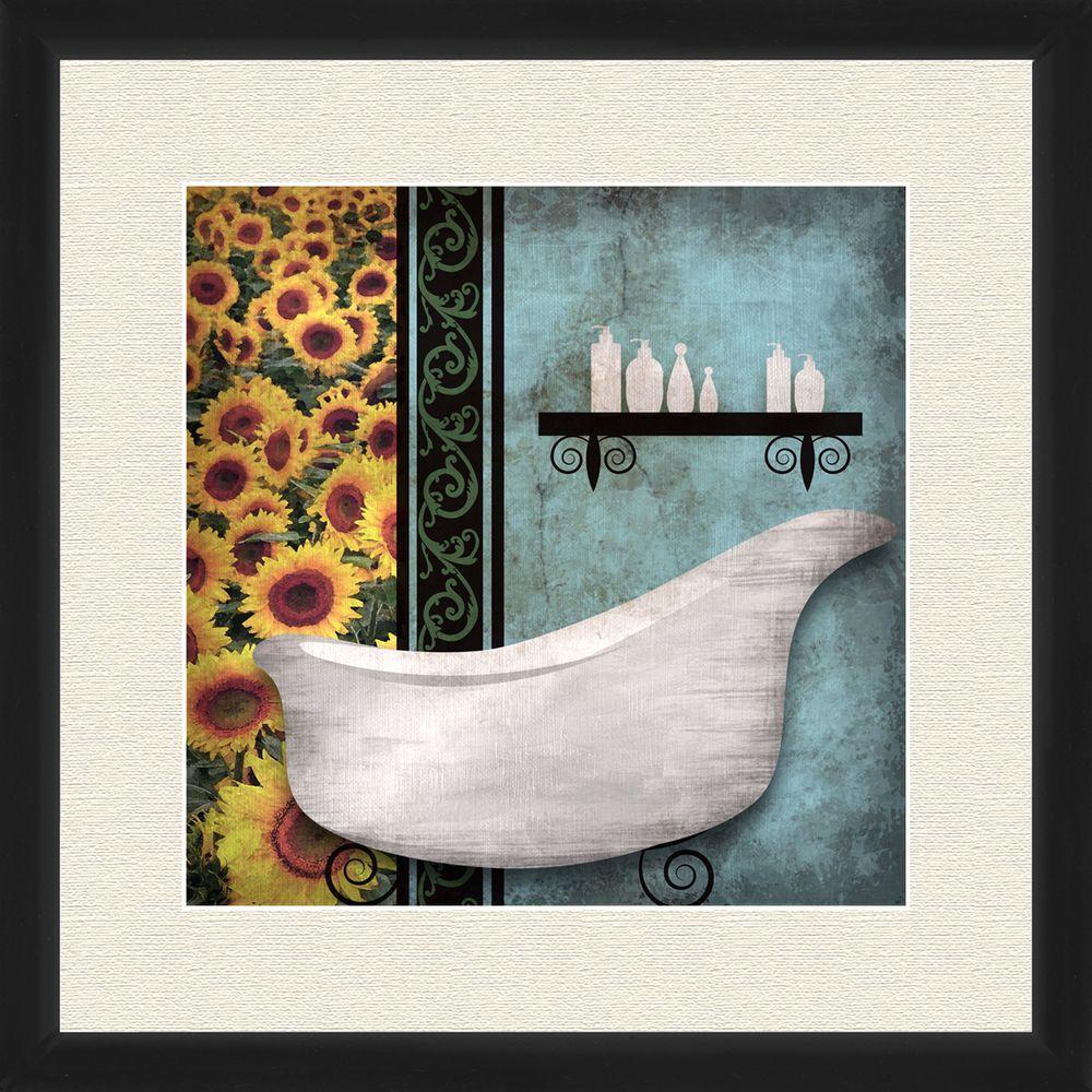 """18 in. x 18 in. """"Sunflower Bath I B"""" Framed Wall"""